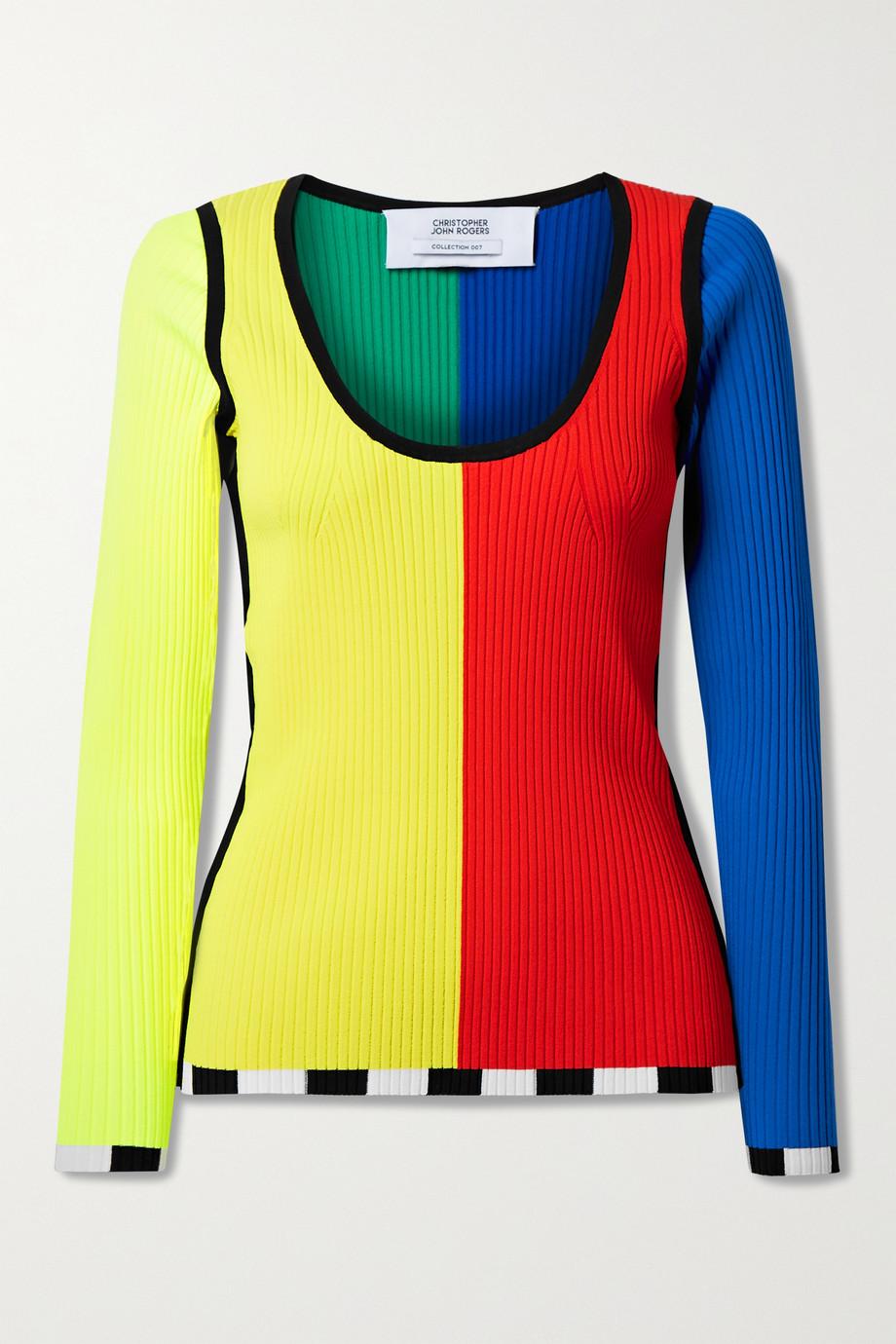 Christopher John Rogers Rippstrickpullover in Colour-Block-Optik