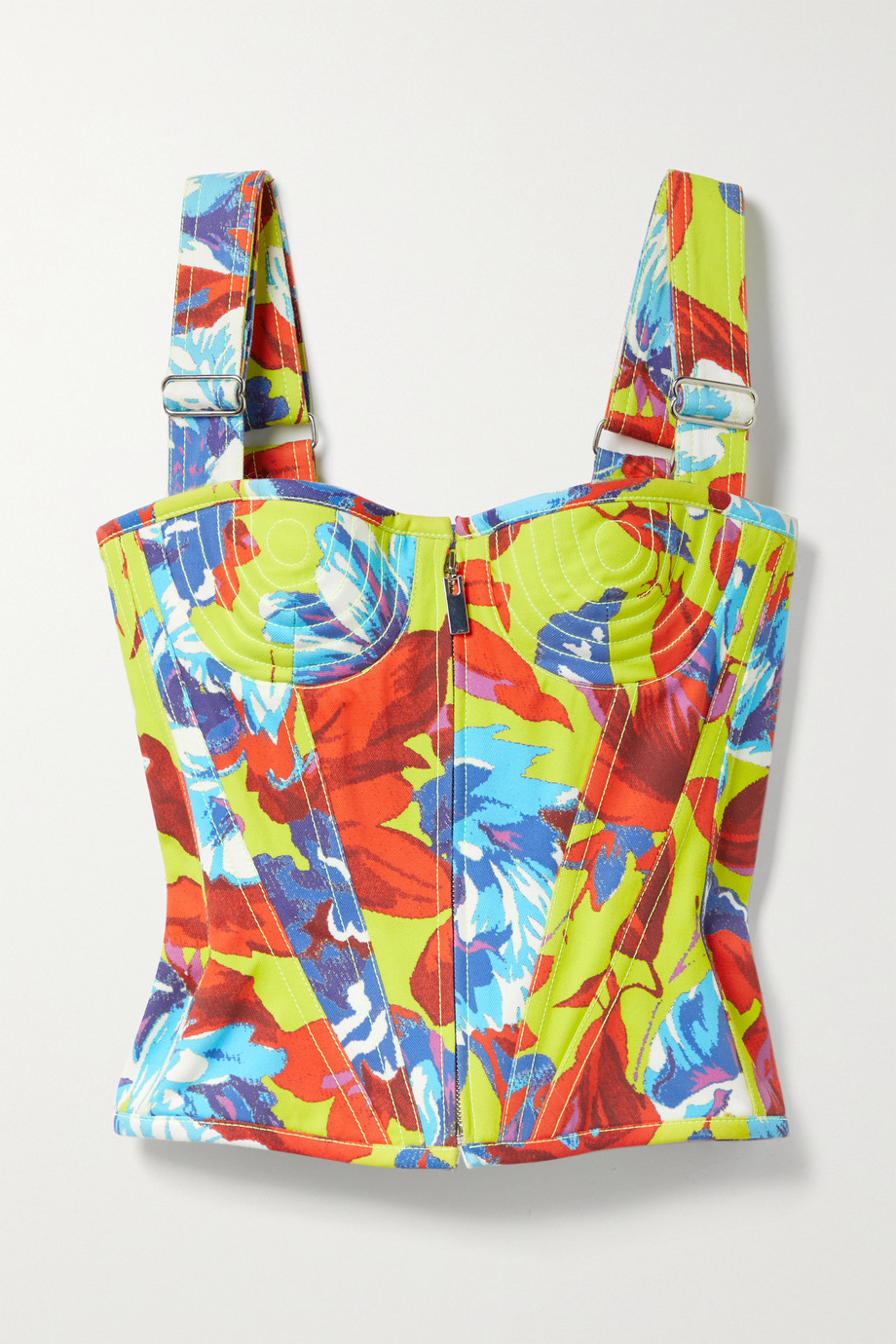Christopher John Rogers Topstitched floral-print cotton-twill bustier top