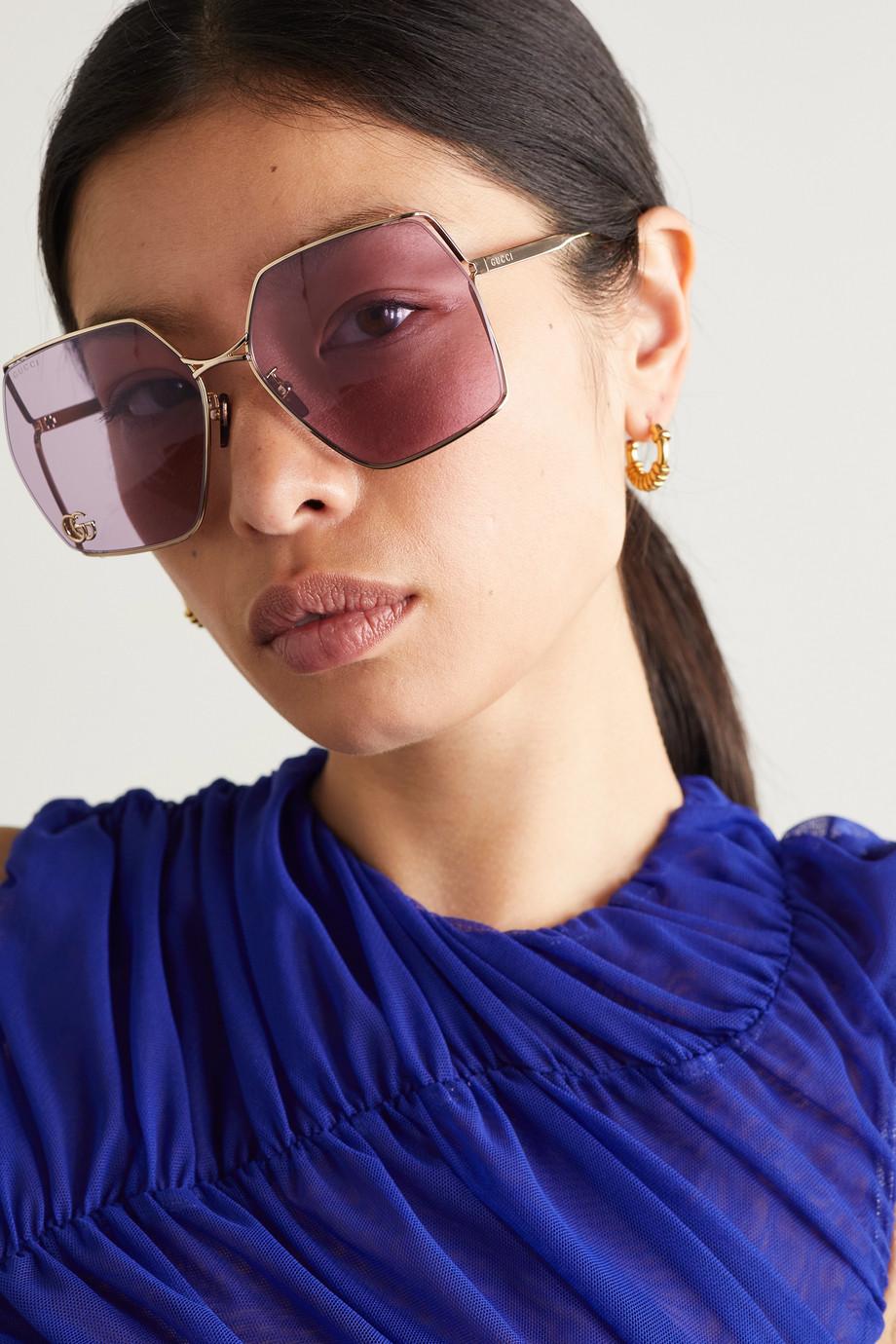 Gucci Goldfarbene Sonnenbrille mit eckigem Rahmen