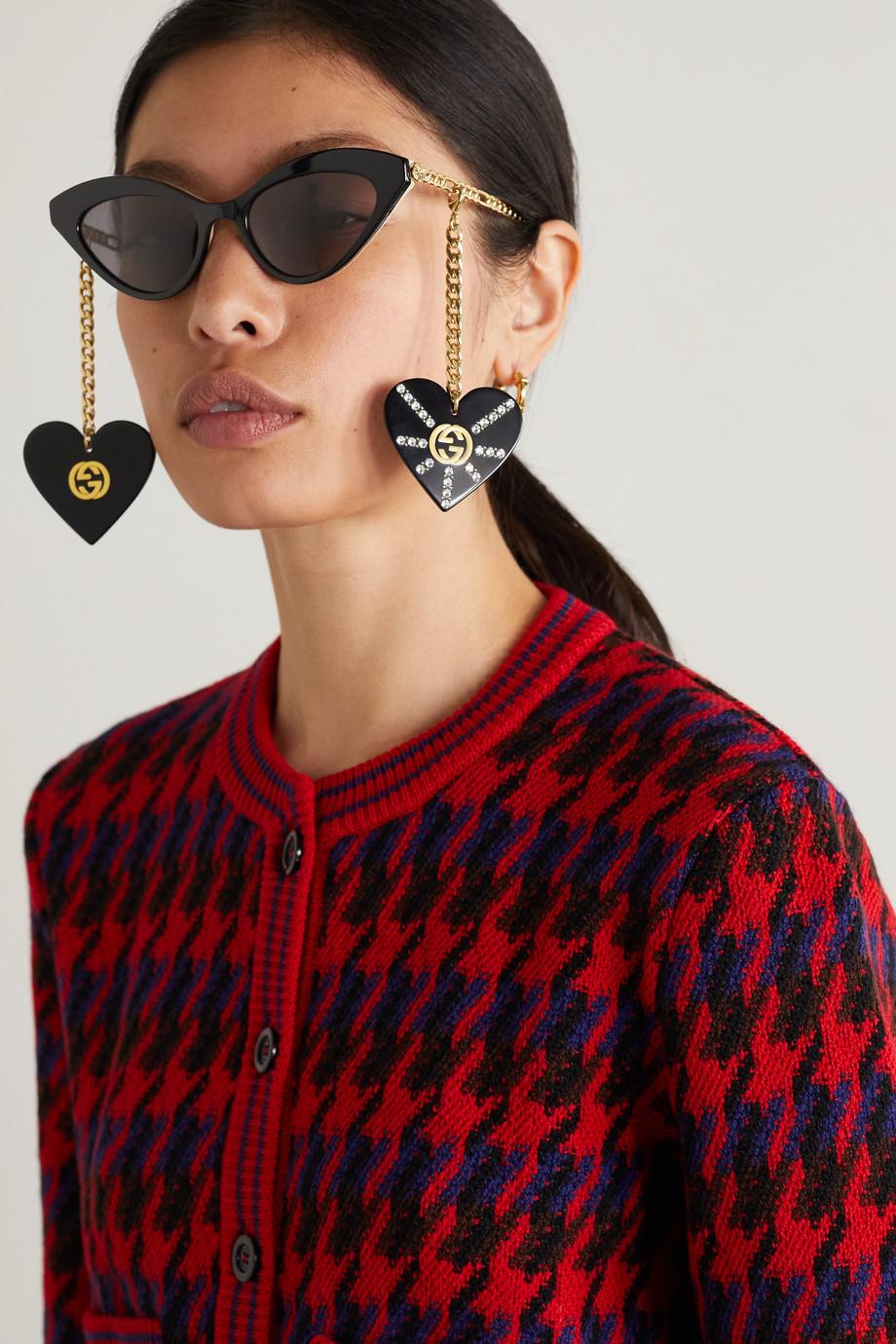 Gucci Lunettes de soleil œil-de-chat en acétate et en métal doré à ornements
