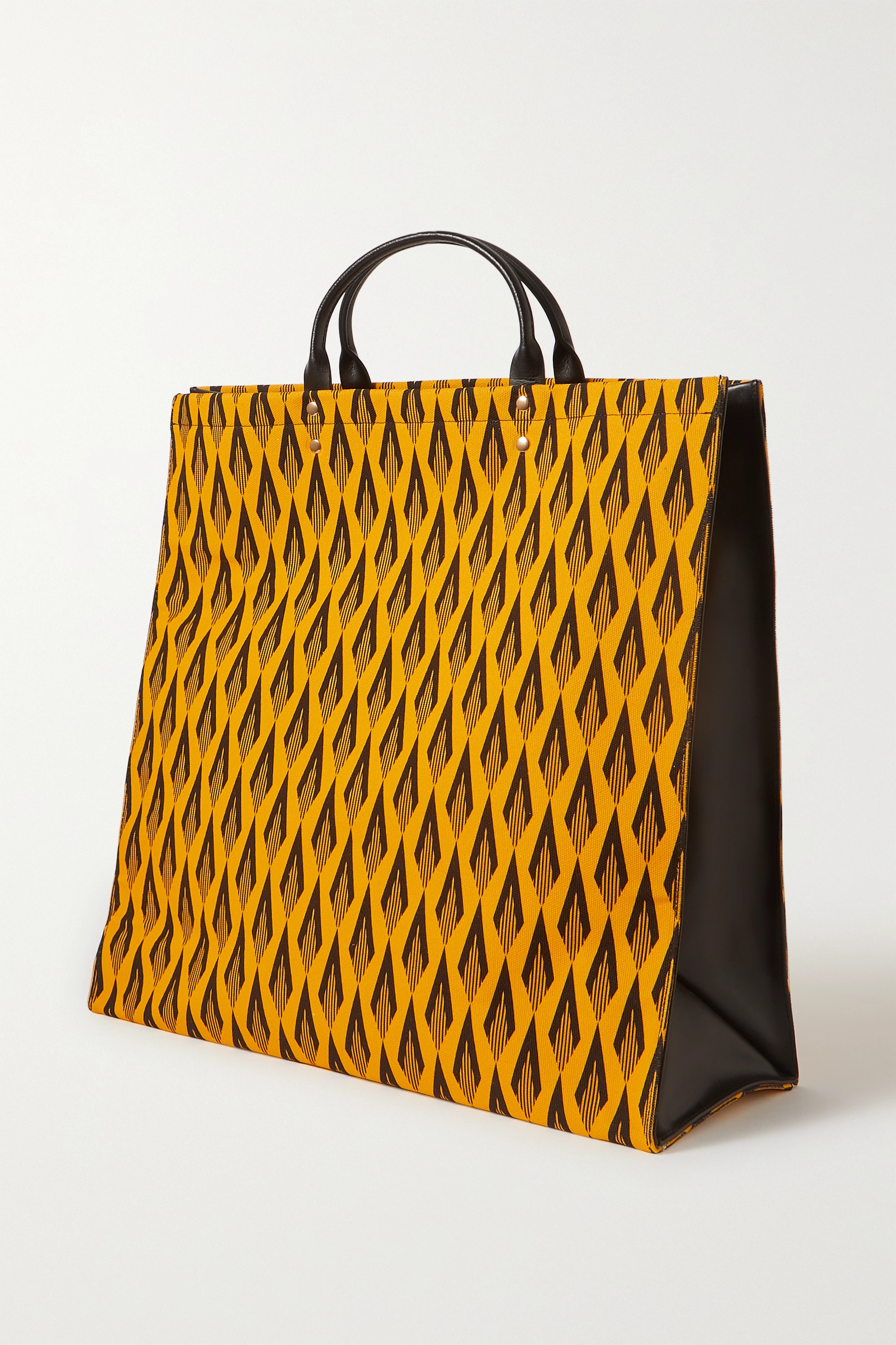 Paco Rabanne Printed cotton-canvas and leather tote