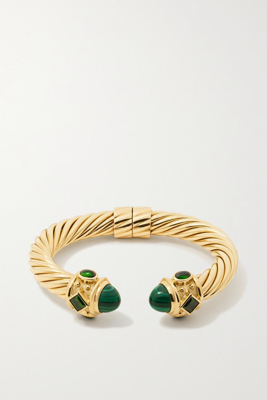 David Yurman Bracelet en or 18 carats, malachites et diopsides Renaissance