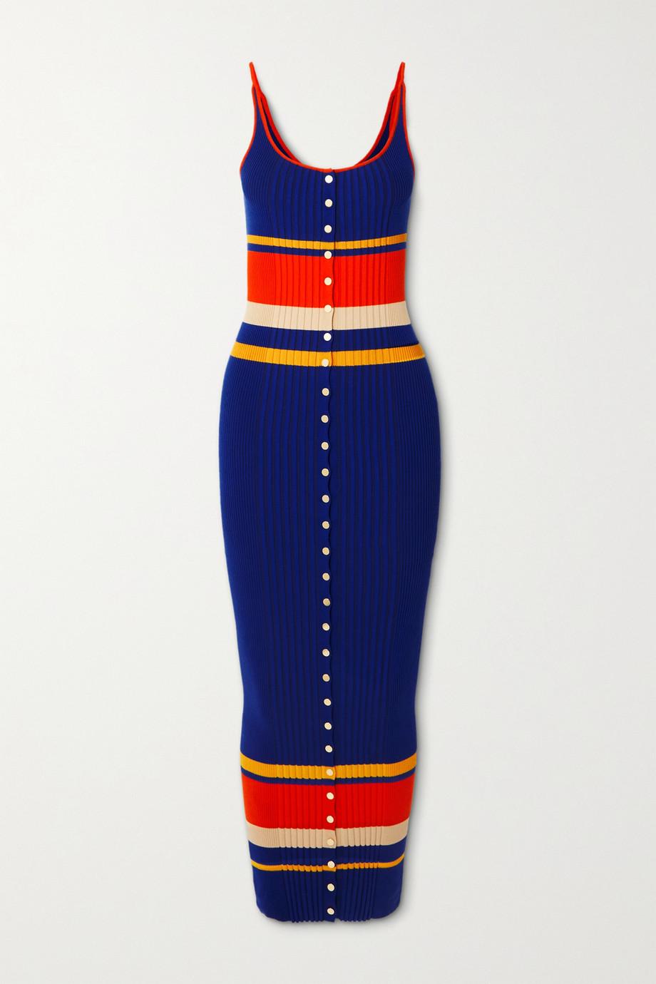 Paco Rabanne Striped ribbed cotton-blend midi dress