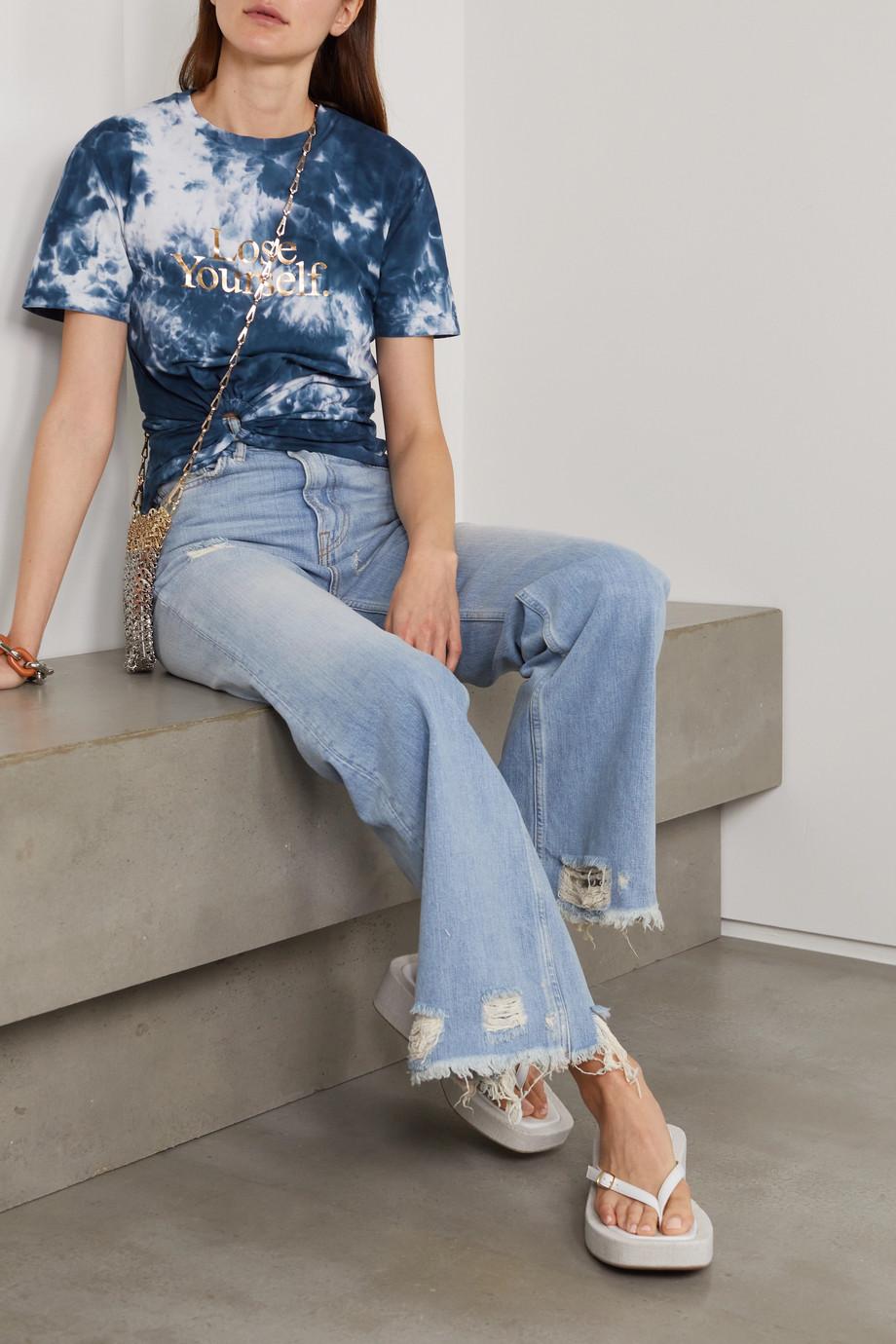 Paco Rabanne T-Shirt aus Baumwoll-Jersey mit Batikmuster, Print und Twist-Detail