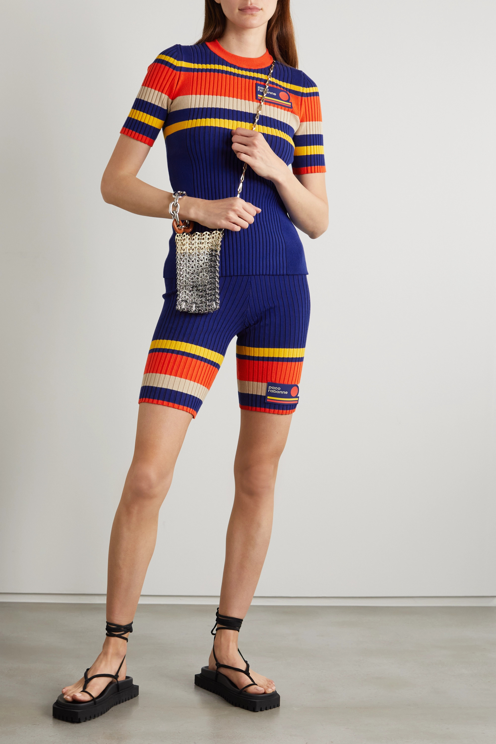 Paco Rabanne Striped ribbed cotton-blend shorts