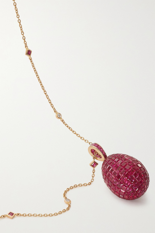 Fabergé Imperial Kette mit Ei-Anhänger aus 18 Karat Gold mit Rubinen und Diamanten