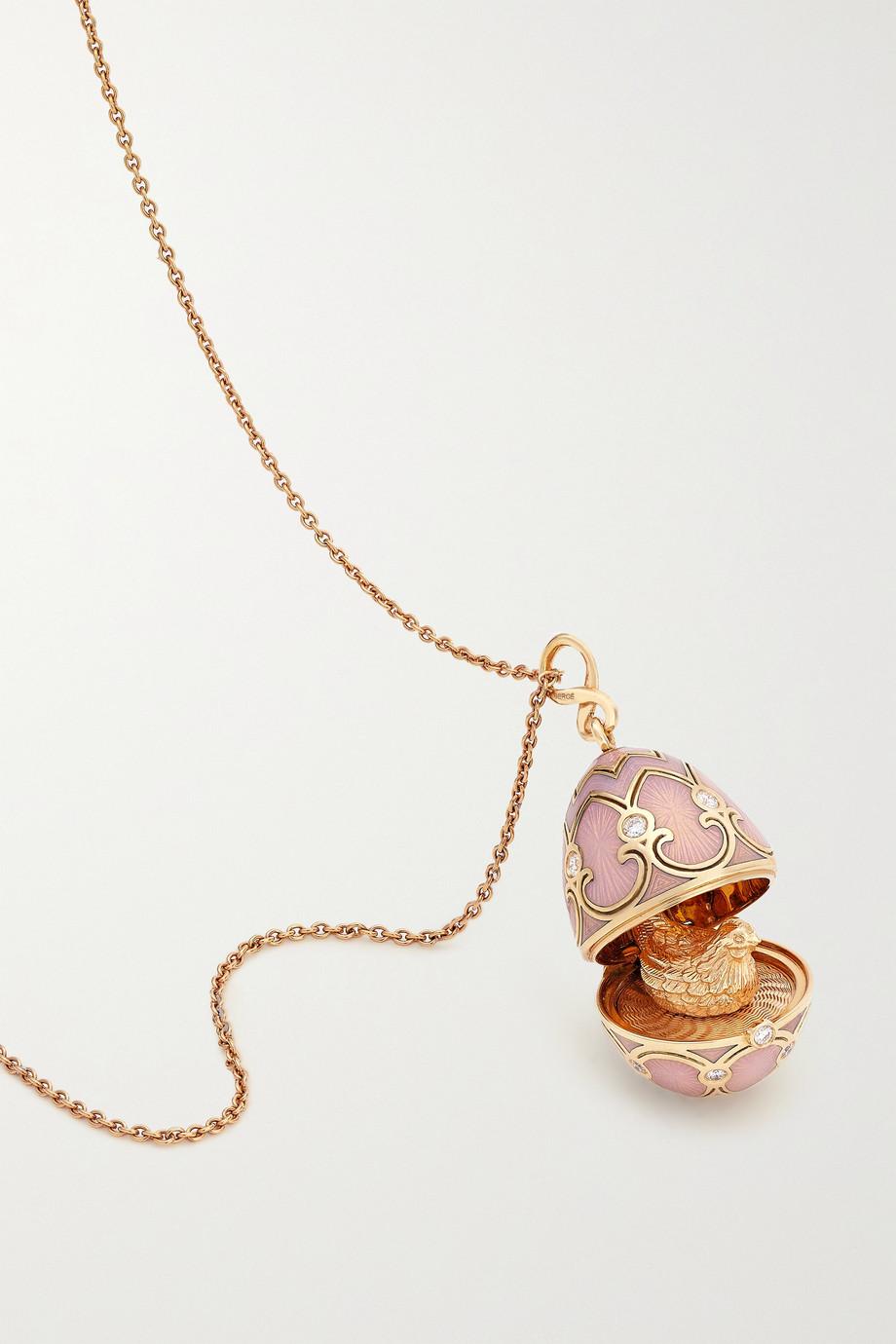 Fabergé Heritage Kette aus 18 Karat Roségold mit Emaille und Diamanten