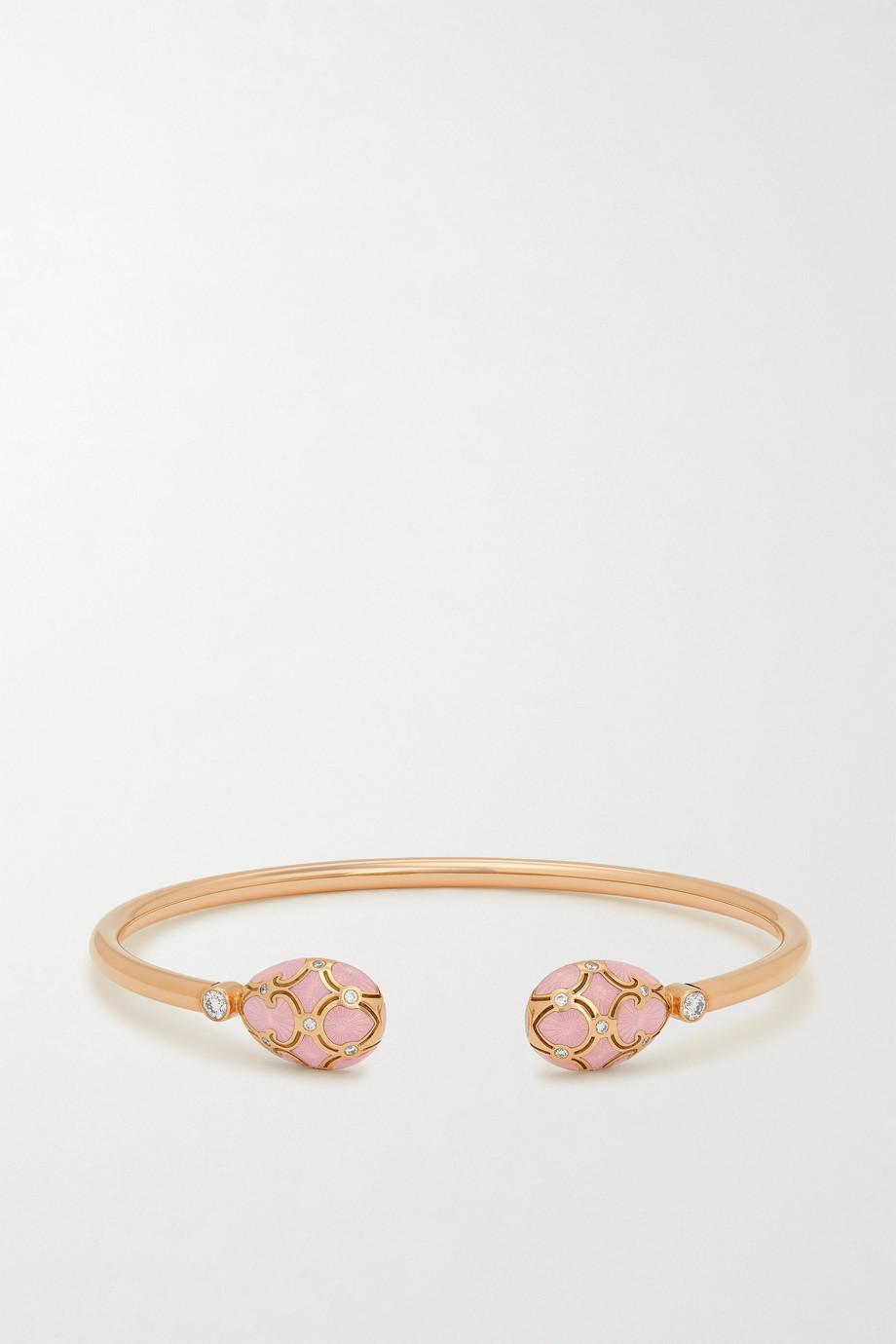 Fabergé Bracelet jonc en or rose 18 carats (750/1000), émail, diamants et rubis Heritage