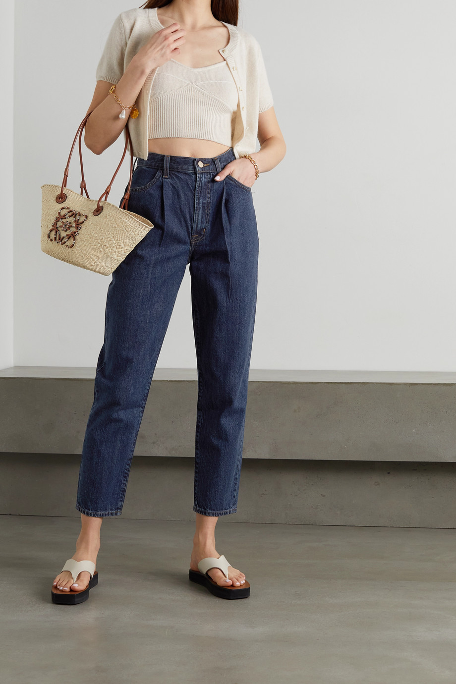 J Brand Peg pleated high-rise tapered jeans
