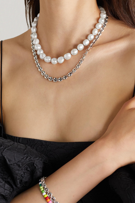 Sophie Buhai Collier en métal argenté et perles