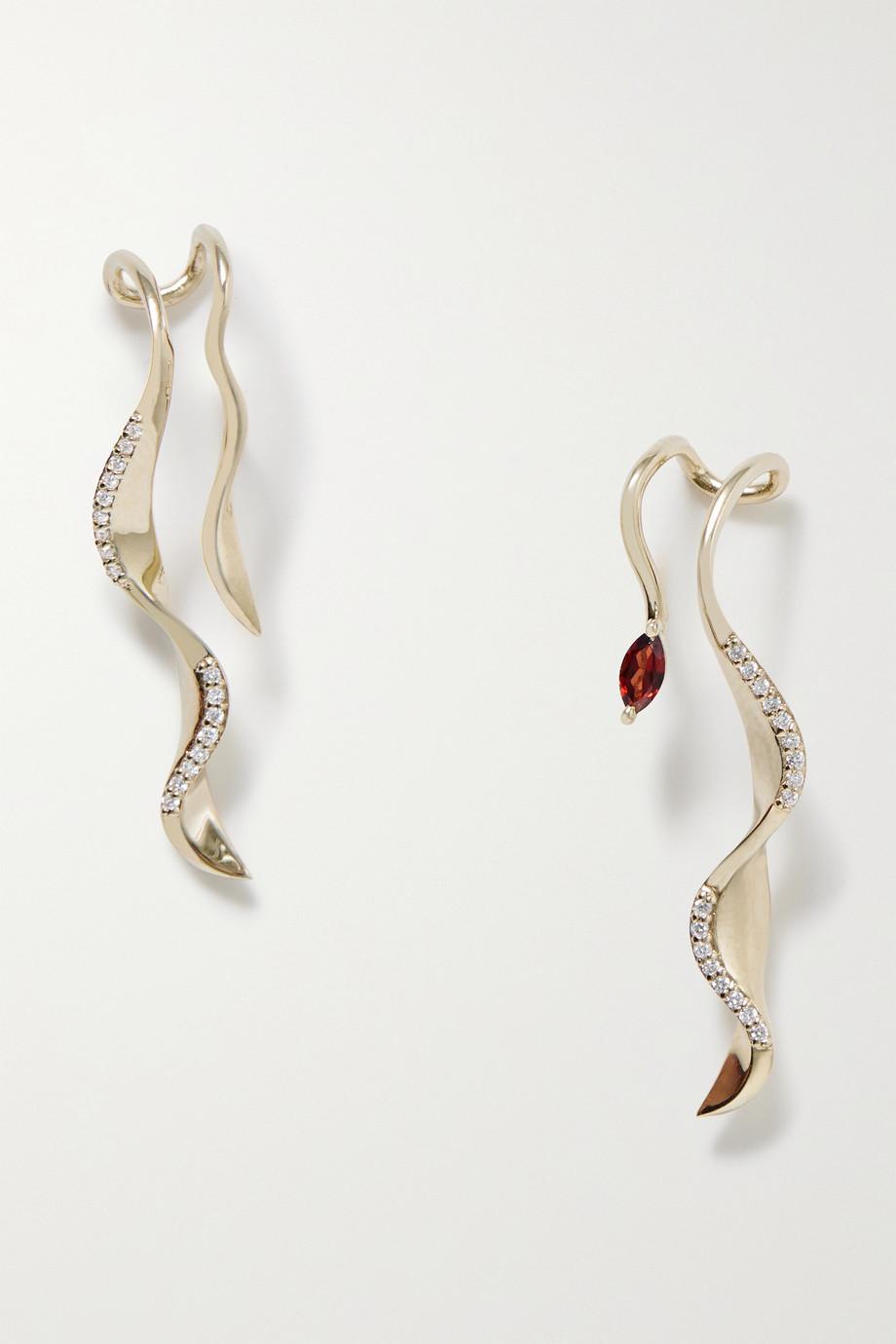 SARAH & SEBASTIAN Winedark Ohrringe aus recyceltem 10 Karat Gold mit Diamanten und Granat