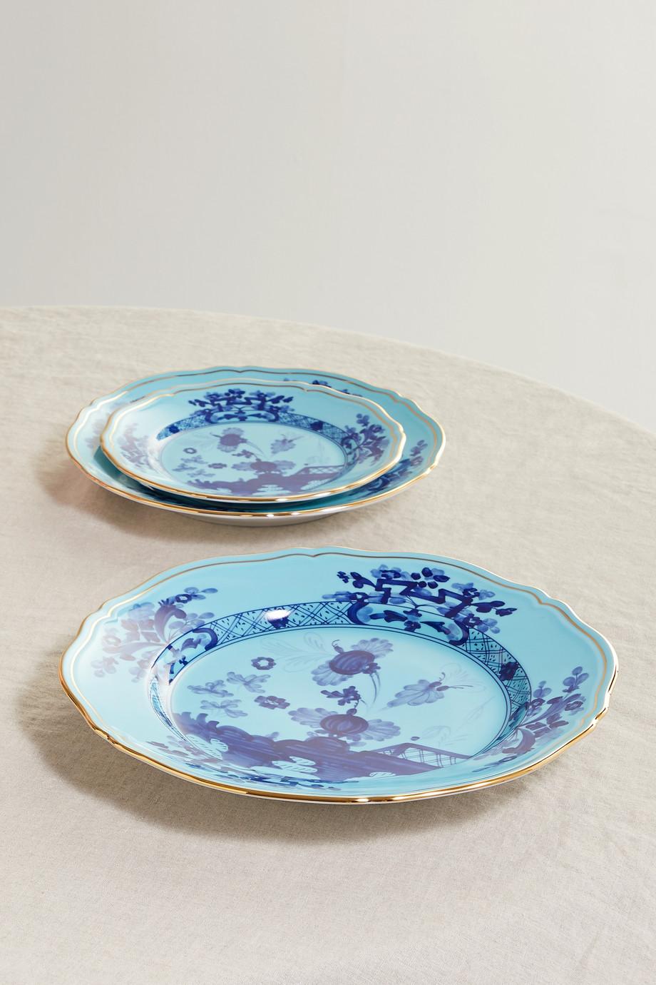 Ginori Oriente Italiano 26,5 cm Teller aus Porzellan mit vergoldeten Details