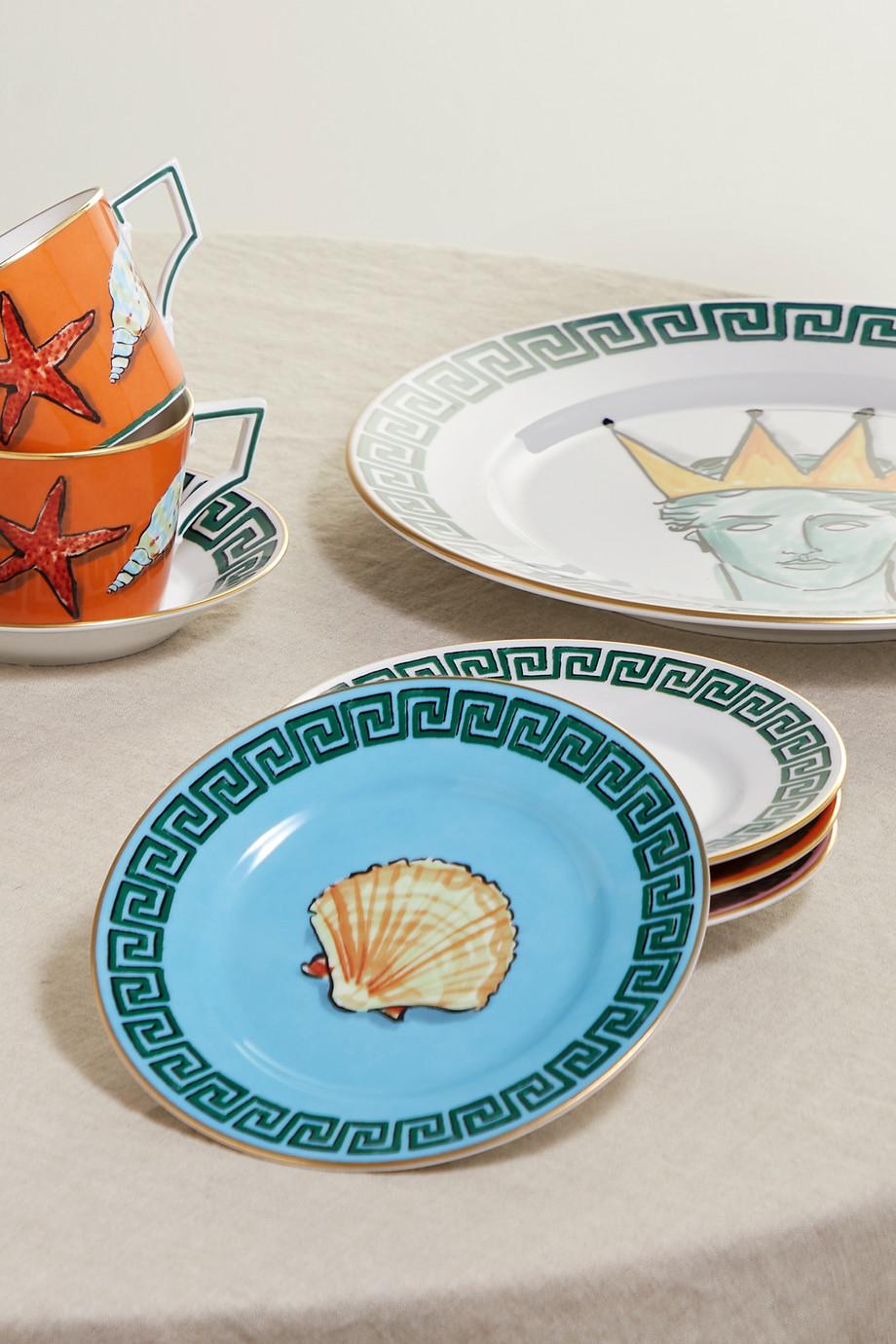 Ginori + Luke Edward Hall Il Viaggio di Nettuno Set aus vier Tellern aus Porzellan mit vergoldeten Details