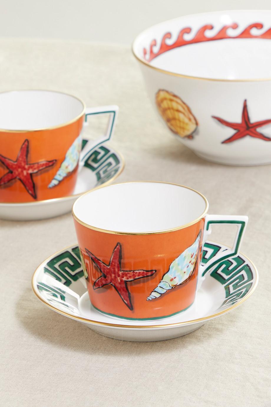 Ginori + Luke Edward Hall Il Viaggio di Nettuno Set aus zwei Teetassen und Untertassen aus Porzellan mit vergoldeten Details