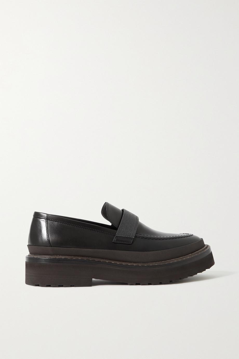 Brunello Cucinelli Loafers aus Leder mit Zierperlen