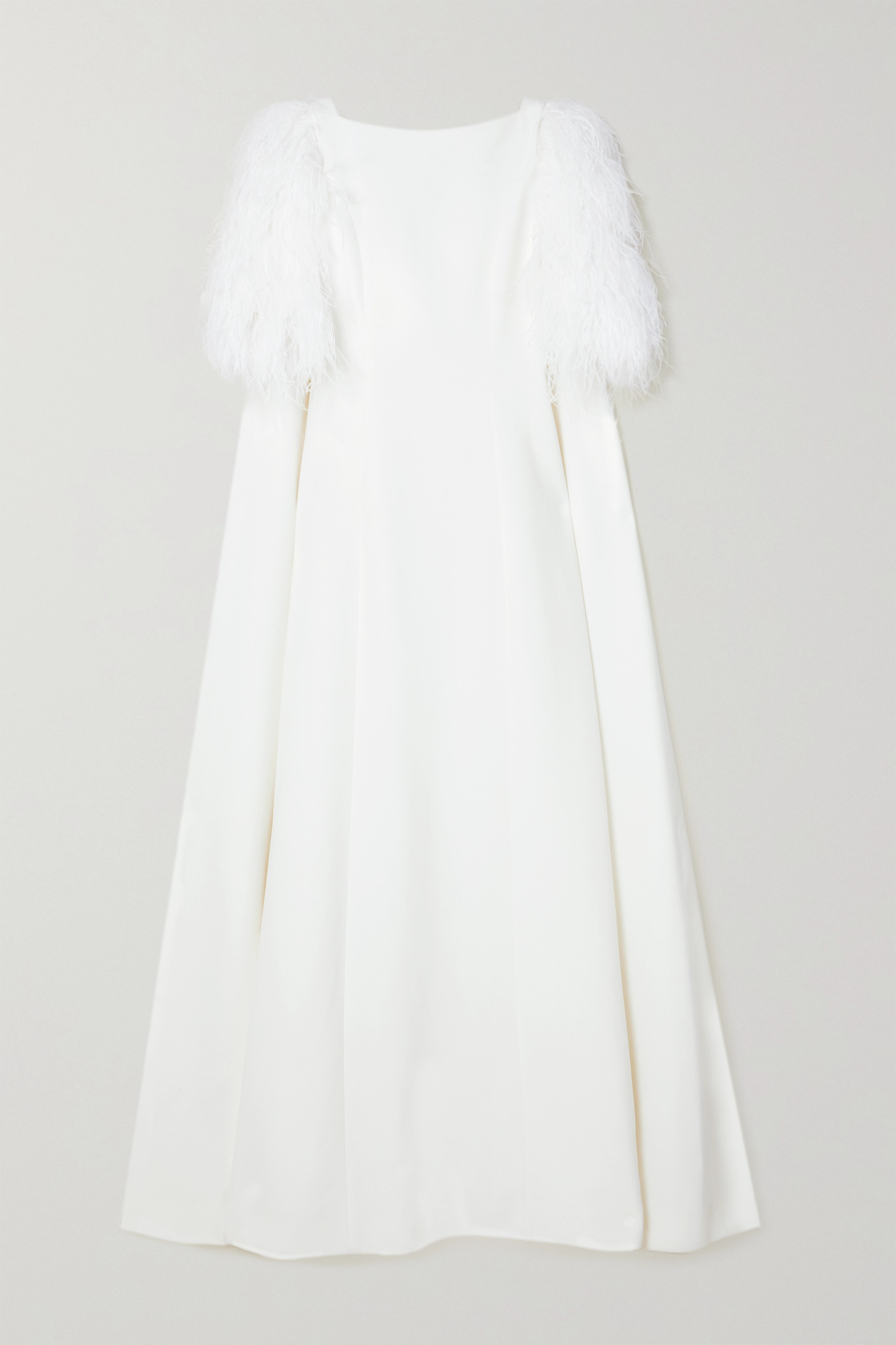 Huishan Zhang Hortense cape-effect feather-trimmed crepe gown