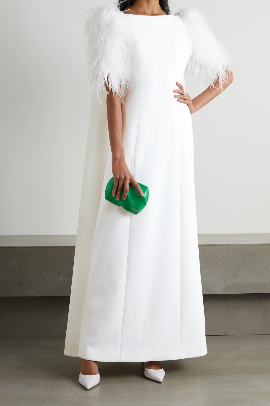 Huishan Zhang Hortensia cape-effect feather-trimmed crepe gown