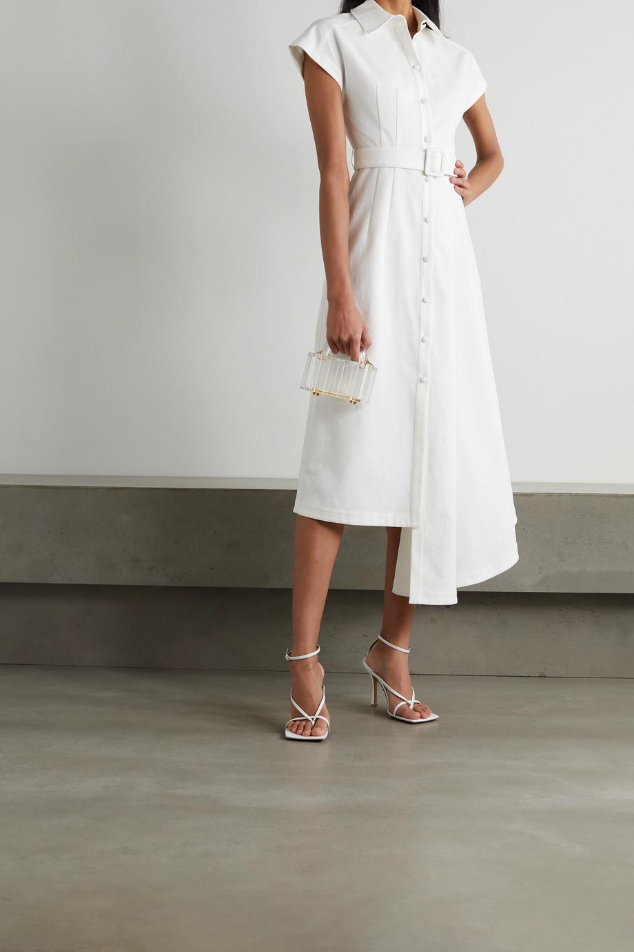 Huishan Zhang Dagmar asymmetric belted cotton-blend midi shirt dress