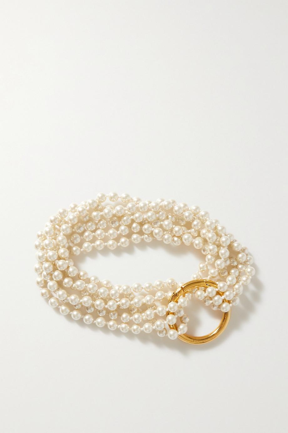 Dries Van Noten Gold-tone faux pearl necklace