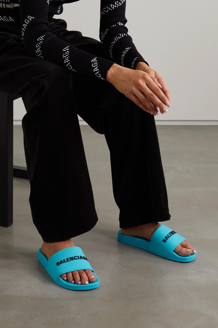 Balenciaga Claquettes en caoutchouc à logo Piscine