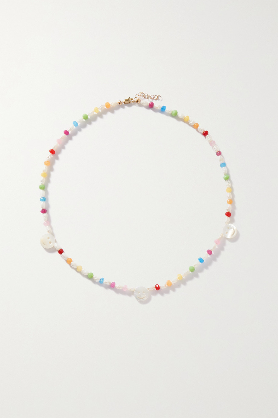 Roxanne First Disco gold, mother-of-pearl and agate necklace