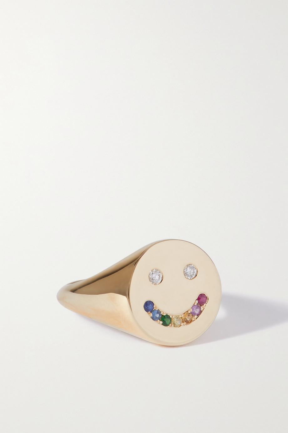 Roxanne First Bague en or 14 carats (585/1000), saphirs et diamants Rainbow Smiley