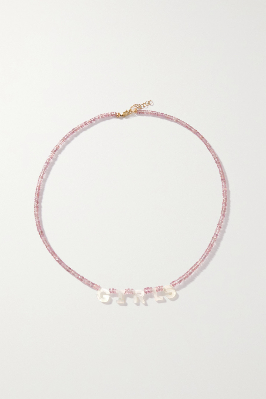 Roxanne First Girls 14-karat gold, sapphire and mother-of-pearl necklace