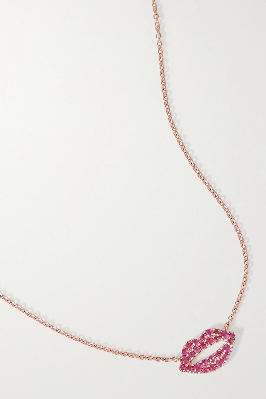 Roxanne First Scarlett Kiss 14-karat rose gold sapphire necklace