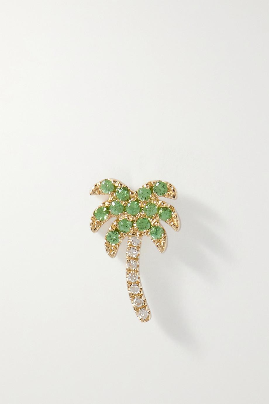 Roxanne First Rocky's Palm Tree einzelner Ohrring aus Gold mit Granaten und Diamanten