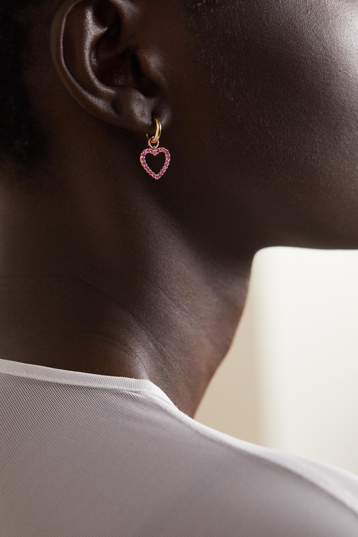 Roxanne First Boucle d'oreille unique en or rose et saphirs Joanie's Heart