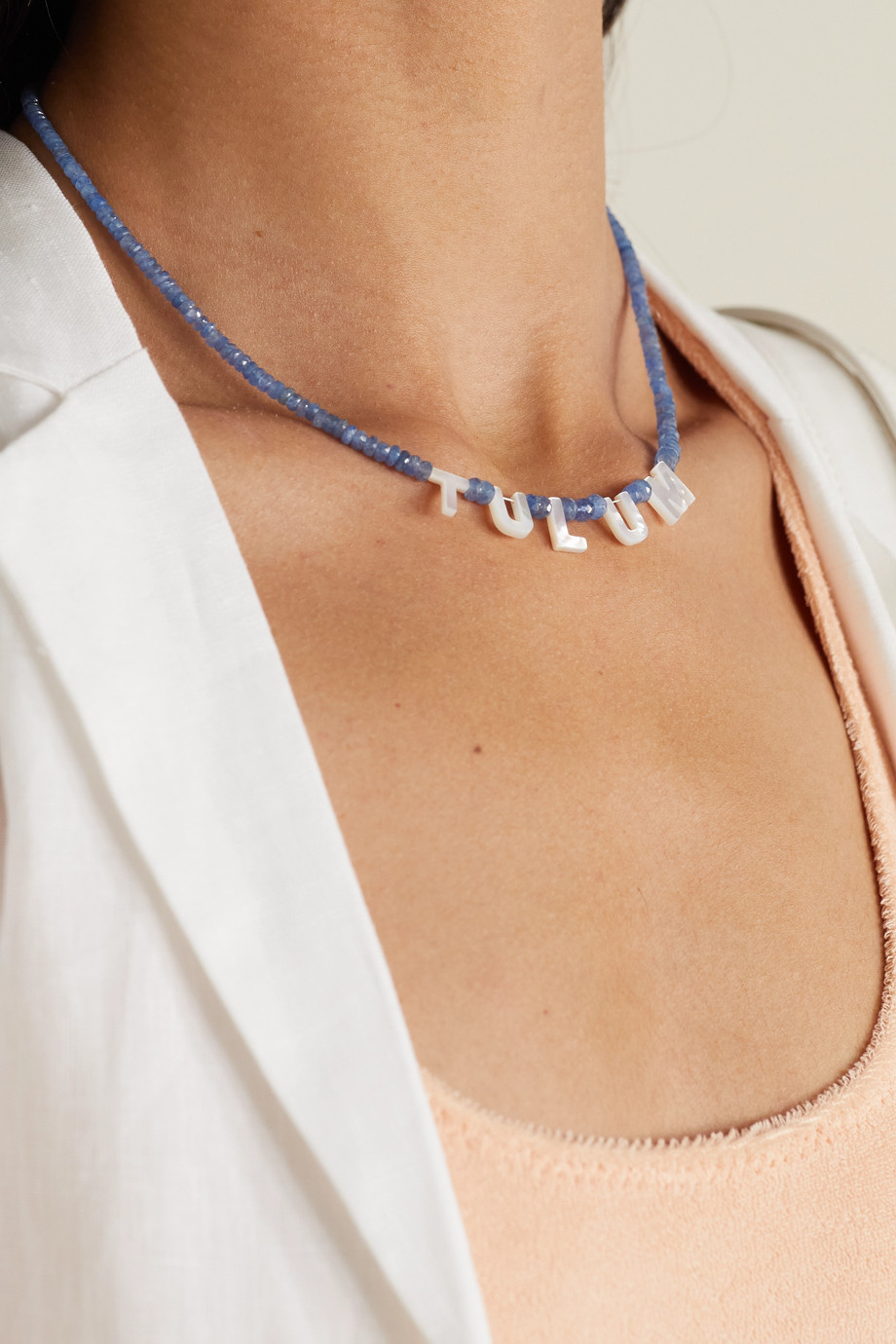 Roxanne First Tulum gold, sapphire and mother-of-pearl necklace
