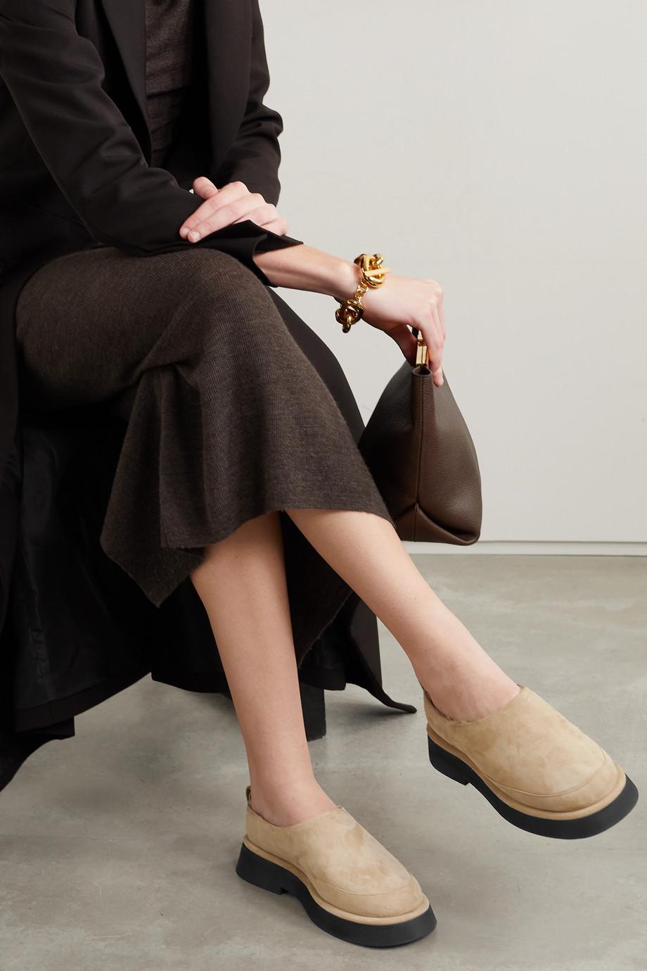 Wandler Rosa Schuhe aus Veloursleder mit Shearling-Futter