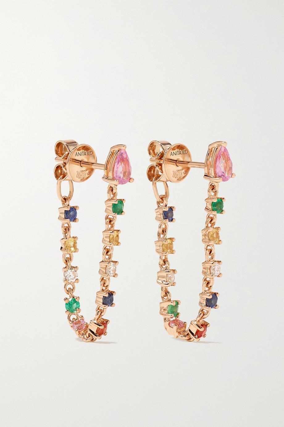 Anita Ko Boucles d'oreilles en or rose 18 carats (750/1000), saphirs et diamants