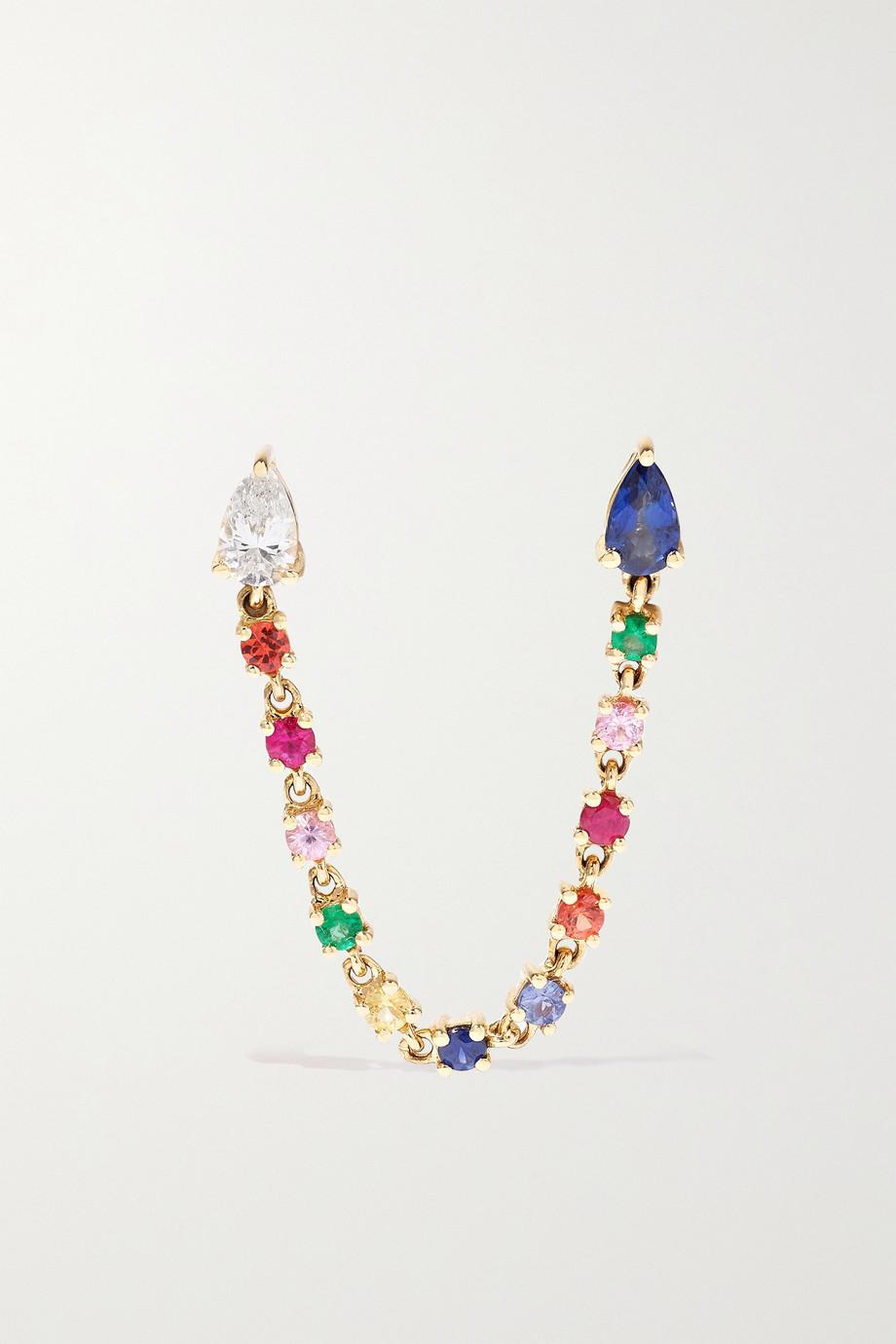 Anita Ko Boucle d'oreille unique en or 18 carats (750/1000), saphirs et diamant