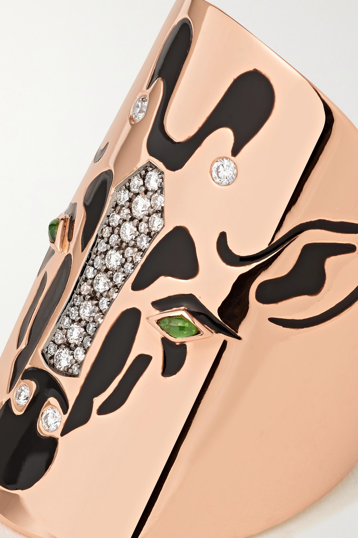 Diane Kordas Giraffe 18-karat rose gold, diamond, tsavorite and enamel ring