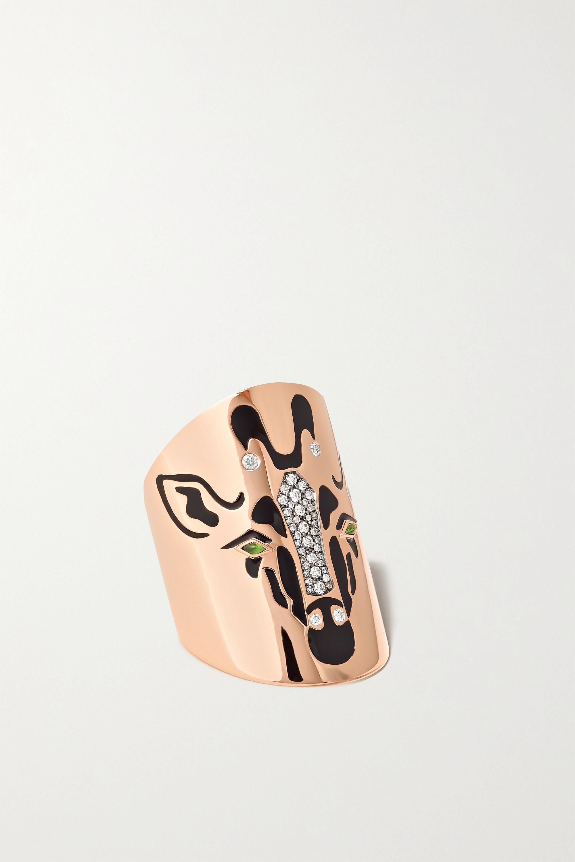 Diane Kordas - Giraffe 18-karat rose gold, diamond, tsavorite and enamel ring