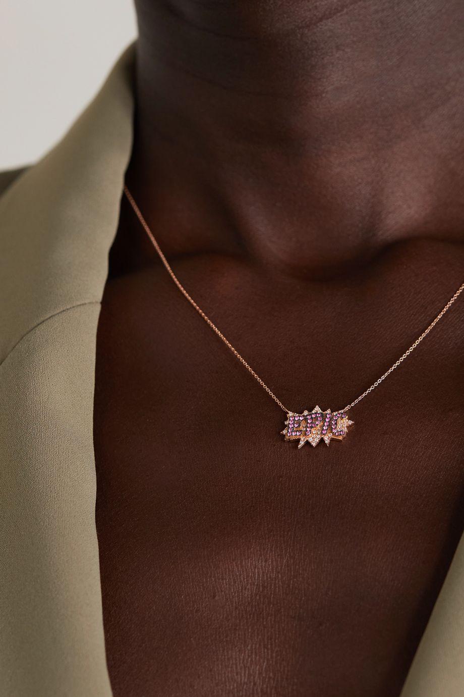 Diane Kordas Epic Kette aus 18 Karat Roségold mit Saphiren und Diamanten