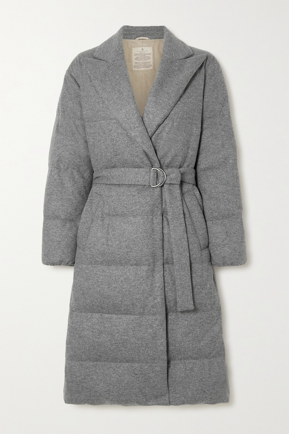 Brunello Cucinelli Belted quilted cashmere down coat