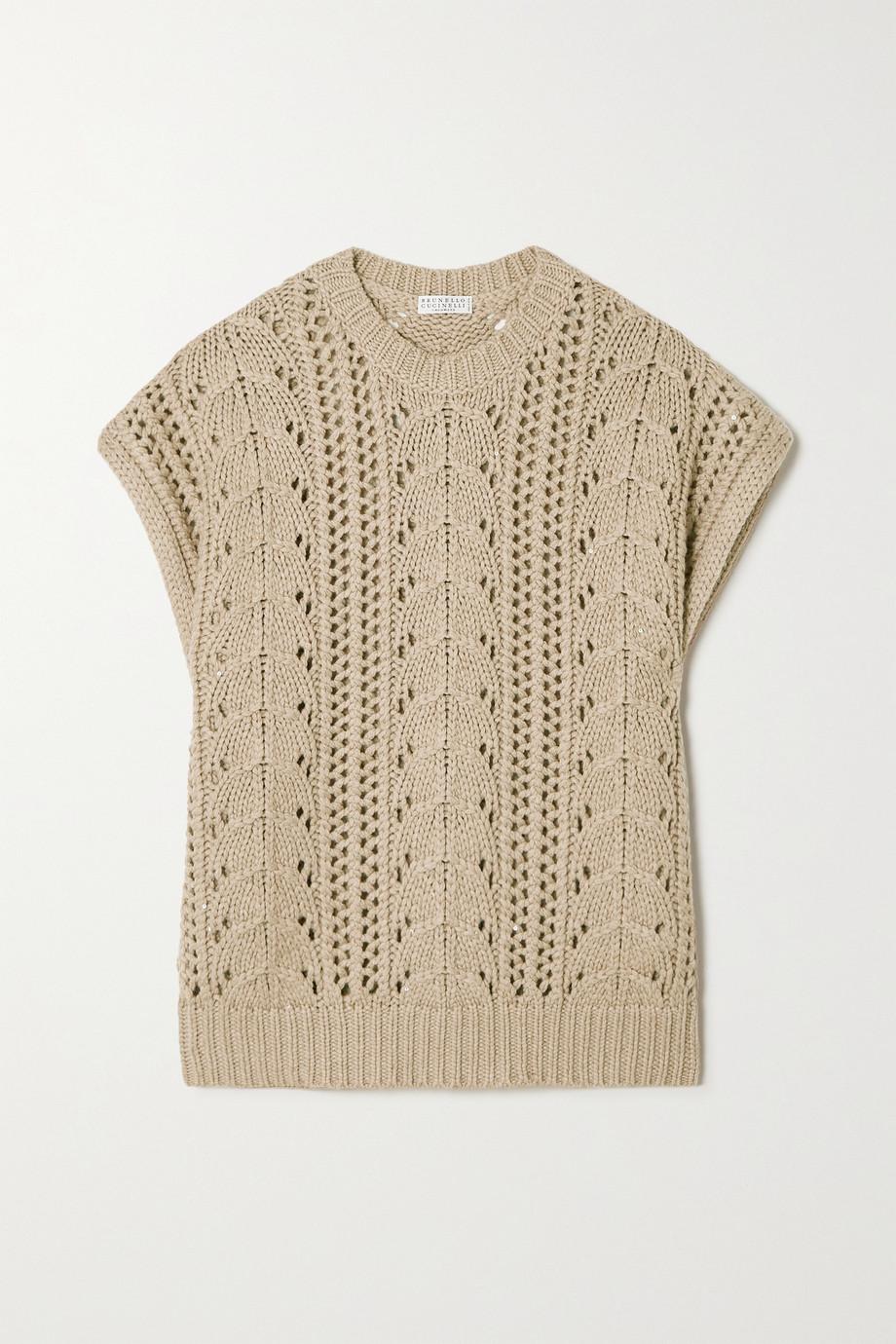 Brunello Cucinelli Ärmelloser Pullover aus einer Kaschmir-Seidenmischung in Zopfstrick mit Pailletten