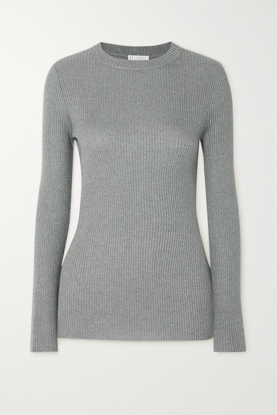 Brunello Cucinelli Gerippter Pullover aus einer Kaschmirmischung in Metallic-Optik