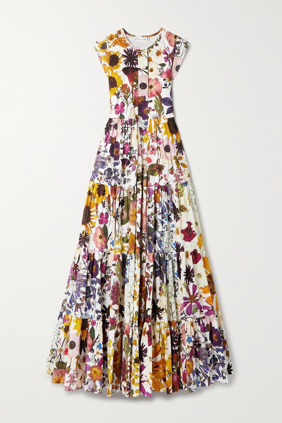 Oscar de la Renta Maxikleid aus Popeline aus einer Baumwollmischung mit Blumenprint