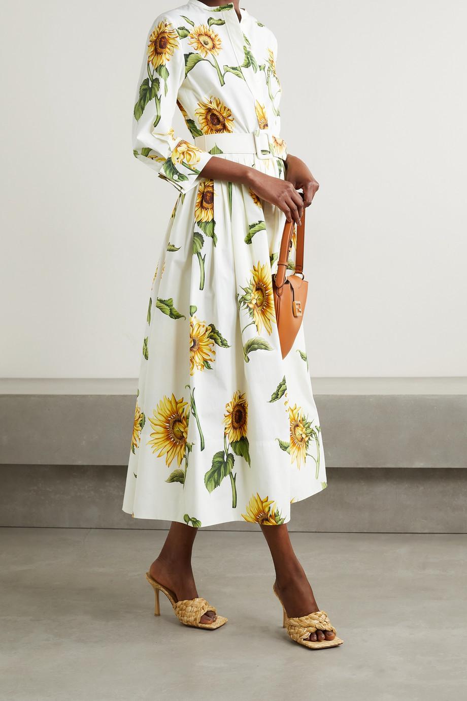 Oscar de la Renta Hemdblusenkleid aus Popeline aus einer Baumwollmischung mit Blumenprint und Gürtel