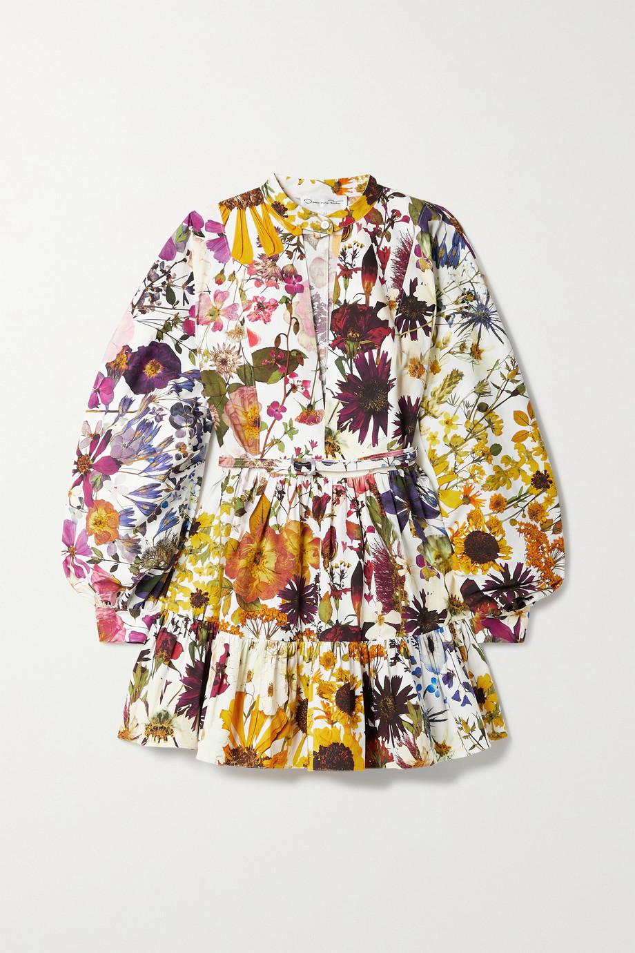 Oscar de la Renta Belted floral-print cotton-blend poplin mini dress