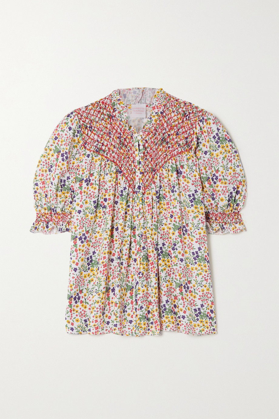 Loretta Caponi Milvia ruffled smocked floral-print poplin blouse