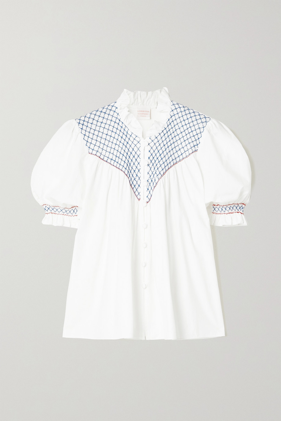 Loretta Caponi Milvia ruffled smocked poplin blouse