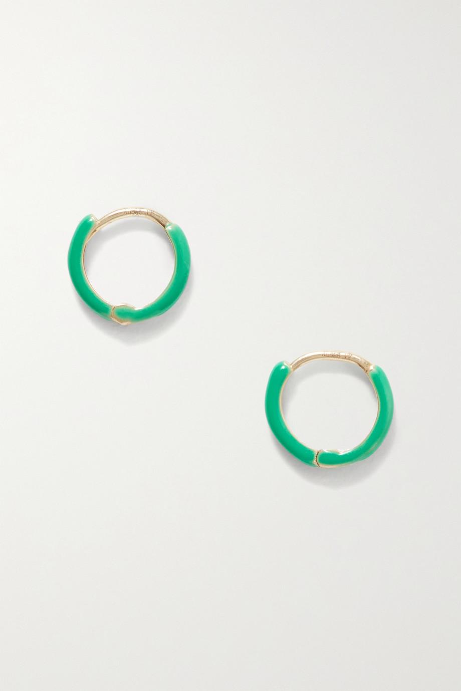 Fry Powers Unicorn Rainbow 14-karat gold and enamel earrings