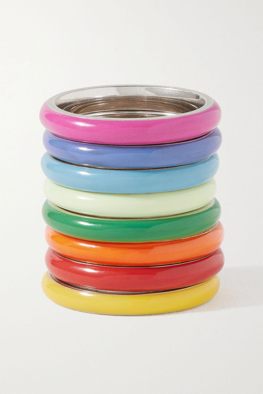 Fry Powers Set de huit bagues en argent et émail The Complete Set Unicorn Rainbow