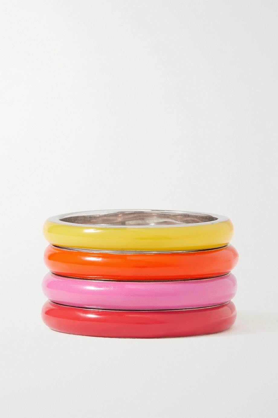 Fry Powers Set de quatre bagues en argent et émail The Warm Set Unicorn Rainbow
