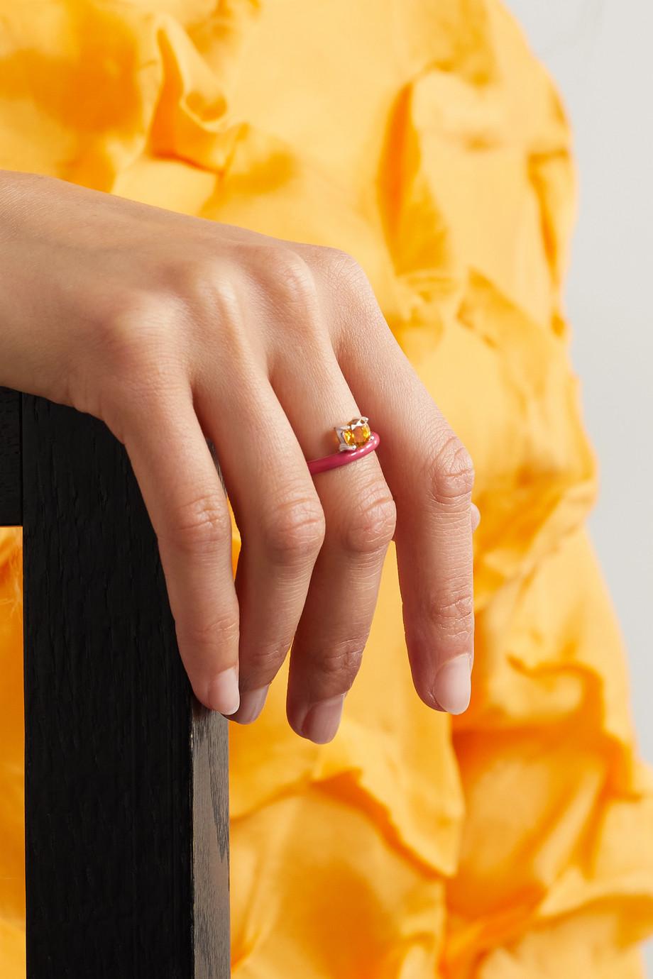 Fry Powers Unicorn Rainbow Ring aus Silber mit Emaille und Citrin