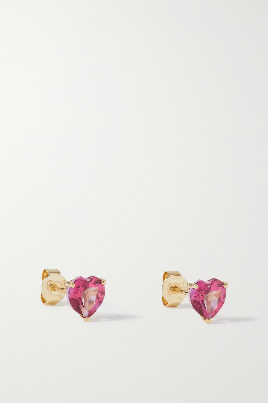 Fry Powers Rainbow Heart Ohrstecker aus 14 Karat Gold mit Topasen